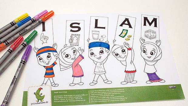 Colouring-in the 5 pillars of #islam. Ausmalbild zu den 5 Säulen des Islams