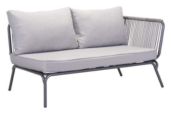Pier Outdoor Right Arm Facing Double Seat Sectional Sofa Unit in Gray Aluminum