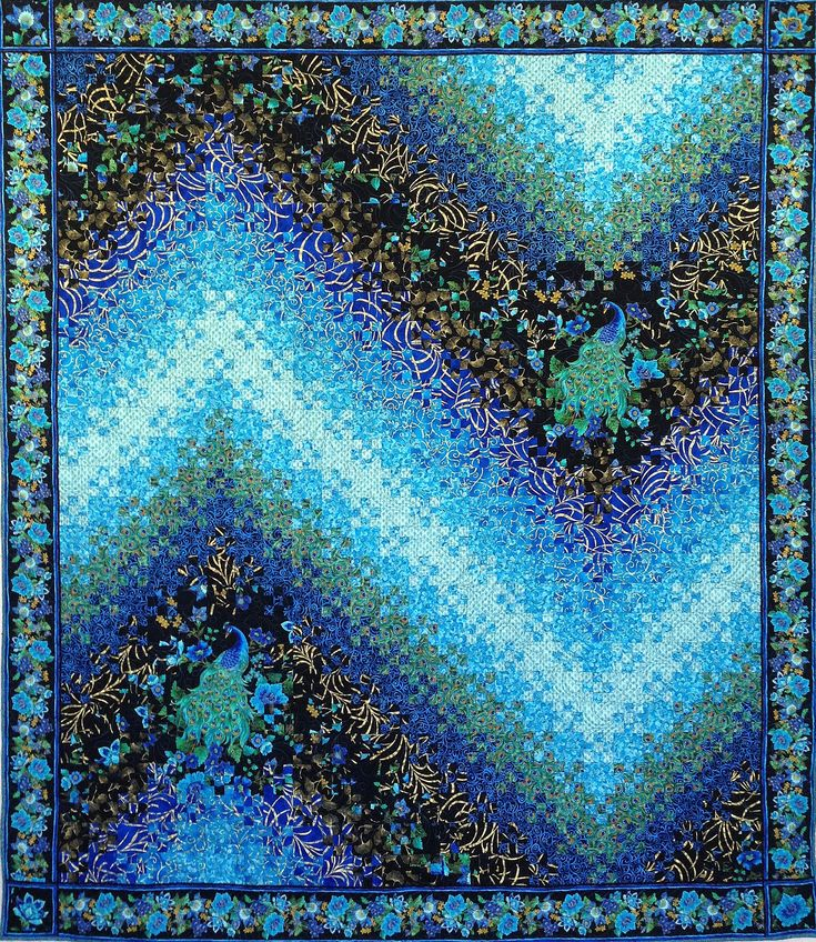 Love Wins! - Peacock inspired fabrics and colors used in a variation of the traditional Blooming Nine Patch pattern - by Marci Gore, Lily Street Qulits