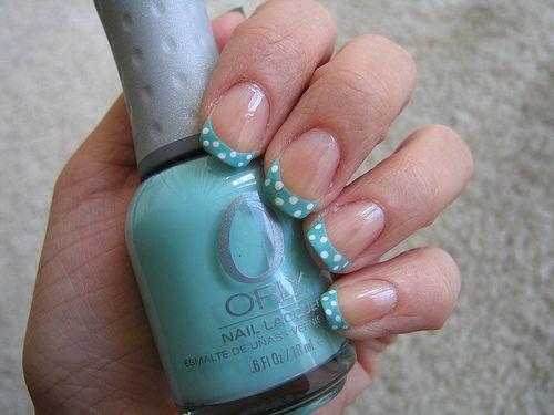 Polka dot french tips Nails Design, French Manicures, Bows Nails, Tiffany Blue, Polka Dots Nails, Nails Polish, French Tips, French Nails, Nails Art Design