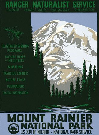 Beautiful Original WPA National Park Service Posters (shh....for sale) via http://rangerdoug.com/store/posters/posters-mount-rainier.html