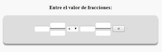 Calculadora de Fracciones Online. Adición, Sustracción, Multiplicación y División de Fracciones.