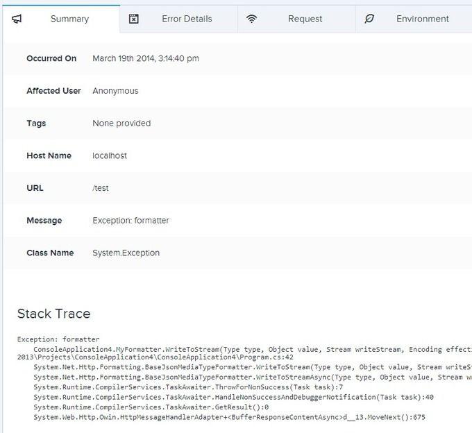 ASP.NET Web API exception logging with Raygun.io