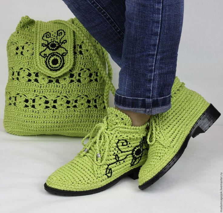 Купить Льняные ботиночки вязаные сумка комплект - хаки, мокасины, мокасины женские, мокасины вязаные