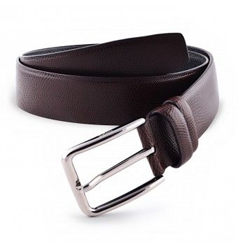 Reddish Brown Textured Leather Belt With Pin Buckle
