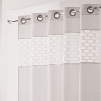 Hampton Inn Shower Curtain - Let the sun shine in! Pair with our curved shower rod and you have more elbow room with more light!