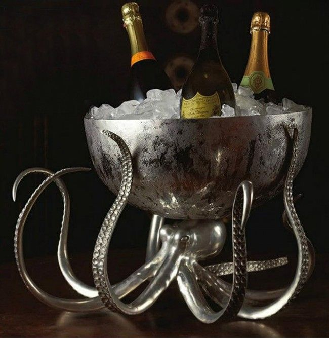 Octopus Pewter Steel Ice Tub Punchbowl