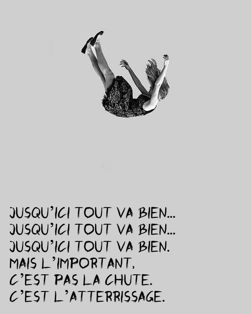 """Jusqu'ici tout va bien... Jusqu'ici tout va bien... Jusqu'ici tout va bien. » Mais l'important, c'est pas la chute. C'est l'atterrissage."" - ""La Haine"", 1995 ""So far so good... so far so good... so far so good... But what is important is not the fall . It's the landing."""