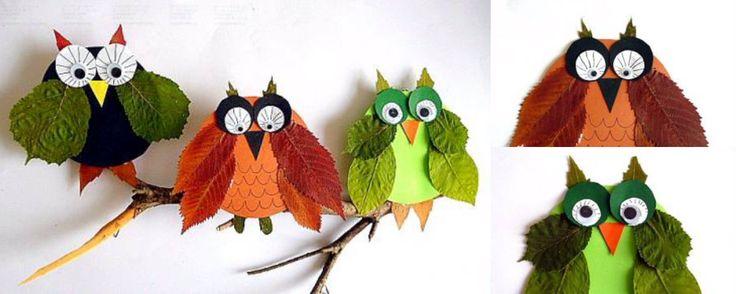 collage uilen herfst knutselen kinderen