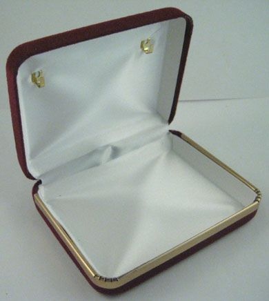Velvet Gift and Rosary Display Box  Case is velvet outside with white inside. Includes 2 gold hooks inside the top to display your finished rosary. Price: $7.00
