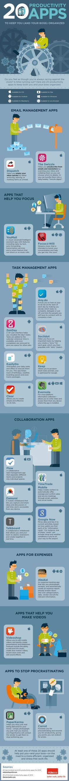 20 Productivity Apps To Keep You (And Your Boss) Organized --shared by Neomam on Jul 11, 2014 - See more at: http://visual.ly/20-productivity-apps-keep-you-and-your-boss-organized#sthash.YjMudZrY.dpuf