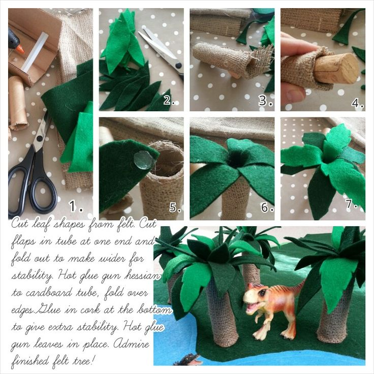 How to make felt palm tree for the felt play mat. Excellent for dinosaurs to roam under....