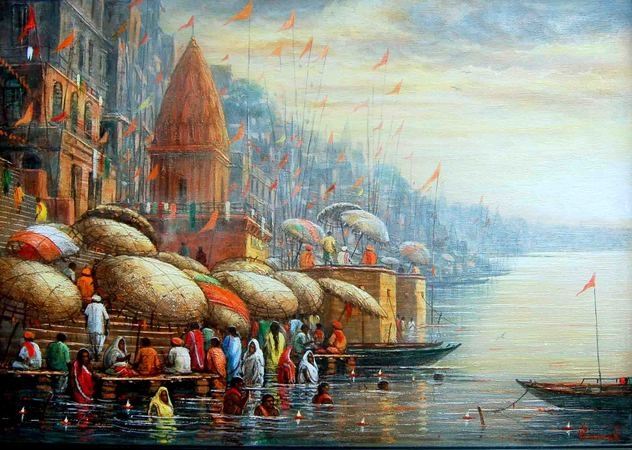 Paramesh Paul      Benaras      Acrylic on Canva..      Lot no: 63464      Size(inches): 22X16      INR 30,000 / $611  http://www.indianartcollectors.com/popup-image-artist.php?arid=63464=true