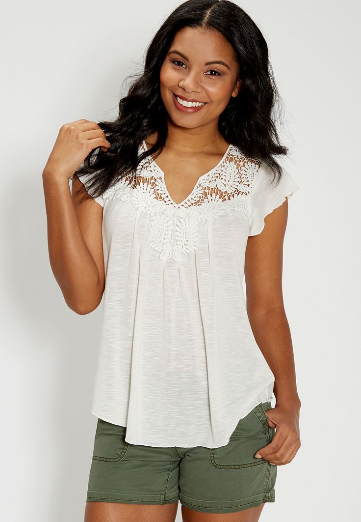 top with crochet and flutter sleeves