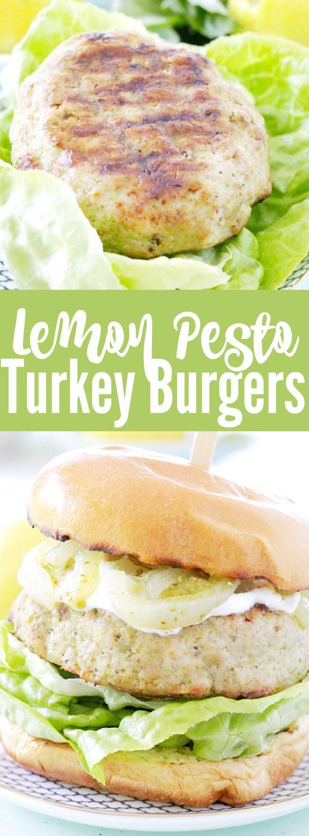 Lemon Pesto Turkey Burgers