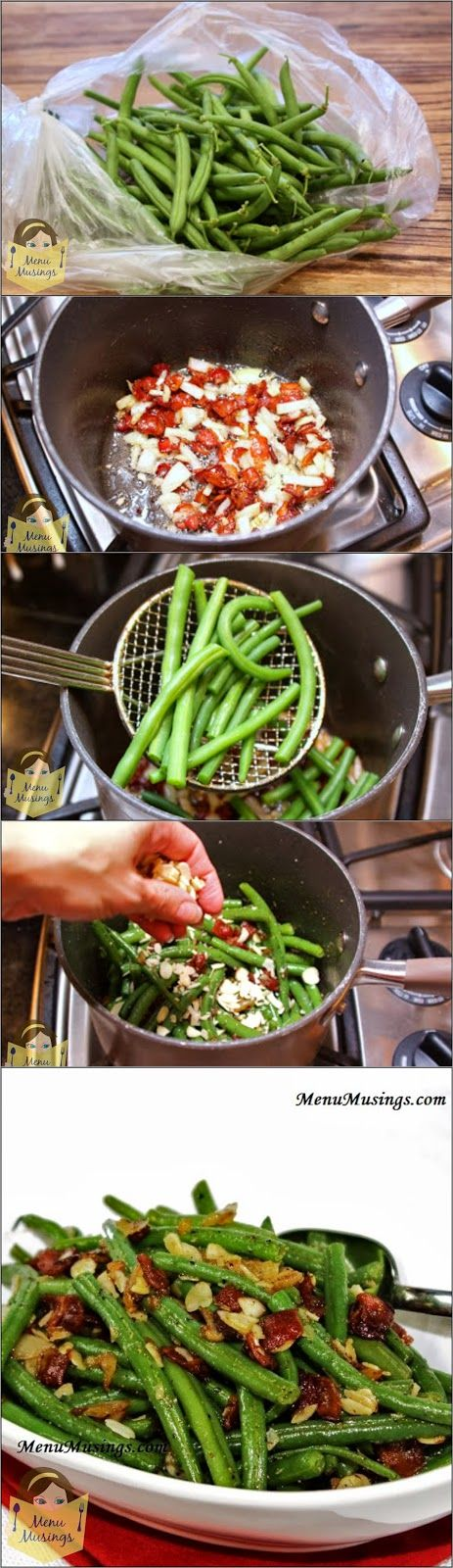 """Lily's Maple Bacon Green Beans with Slivered Almonds - I can't tell you how many green bean """"converts"""" we've had with these.. always fresh, never from the can! Step-by-step photos to making my daughter's favorite vegetable!"""