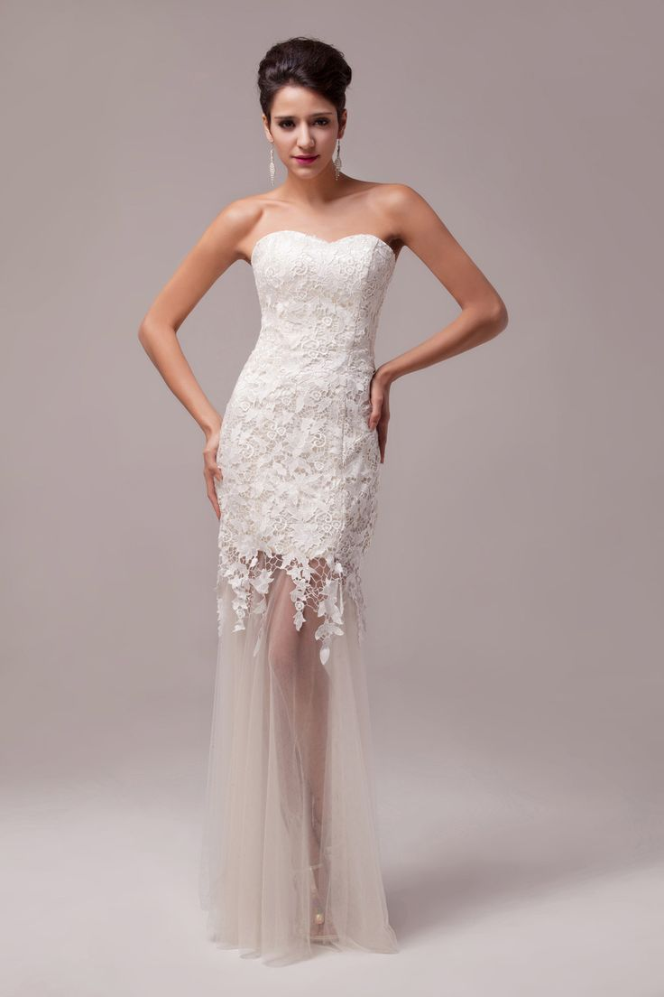 White evening / wedding dress with lace