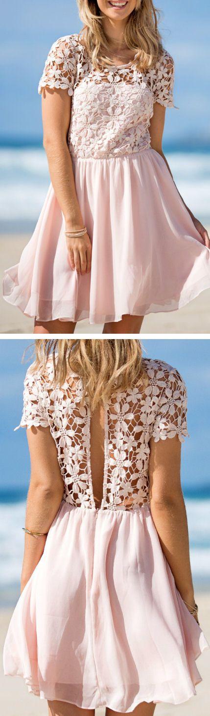 Crochet Cutout Back Dress