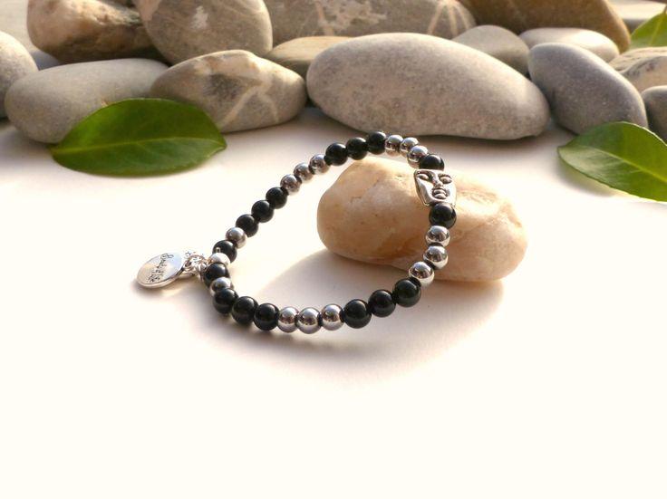 Bracelet FEMME en obsidienne noire et hématite, bracelet en obsidienne noire, bracelet hématite, bracelet médaillons arbres de vie, : Bracelet par lapassiondisabelle
