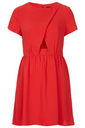 Red wrap front flippy dress