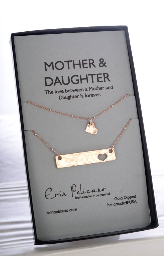 Handcrafted Mother & Daughter bar necklace set by Erin Pelicano Jewelry. Made with love in America