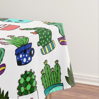 Cool cactus & pots pattern white and green tablecloth - elegant gifts gift ideas custom presents