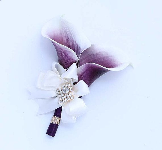 Purple Corsage for Mothers Aunts Sisters Women Real Touch Calla Lily Purple Wedding Flowers Accessory Flower Corsage Pin