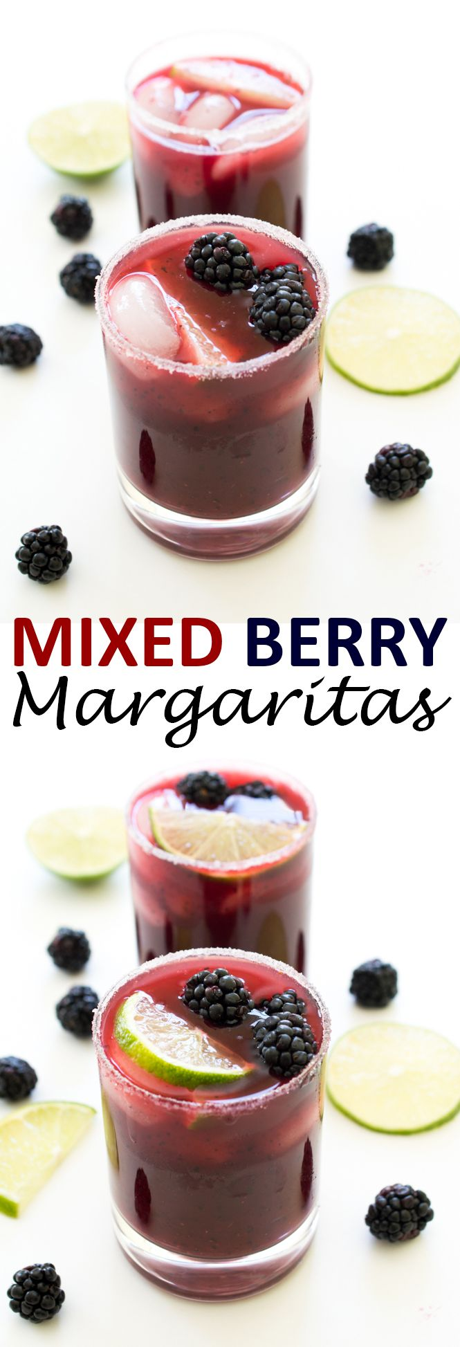 Colorful Mixed Berry Margaritas. Loaded with fresh blueberries, cherries and blackberries.