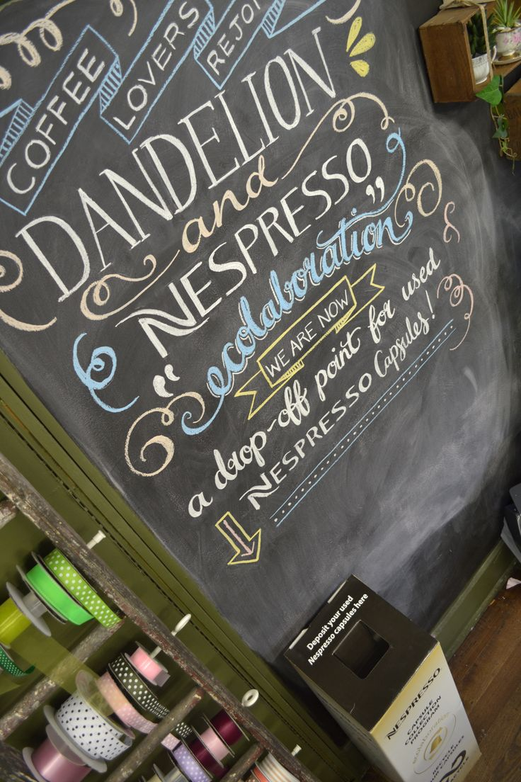 Nespresso are currently running an 'ecolaboration' with terracycle in small businesses. Dandelion jumped on board, and this is the blackboard art I did for it.