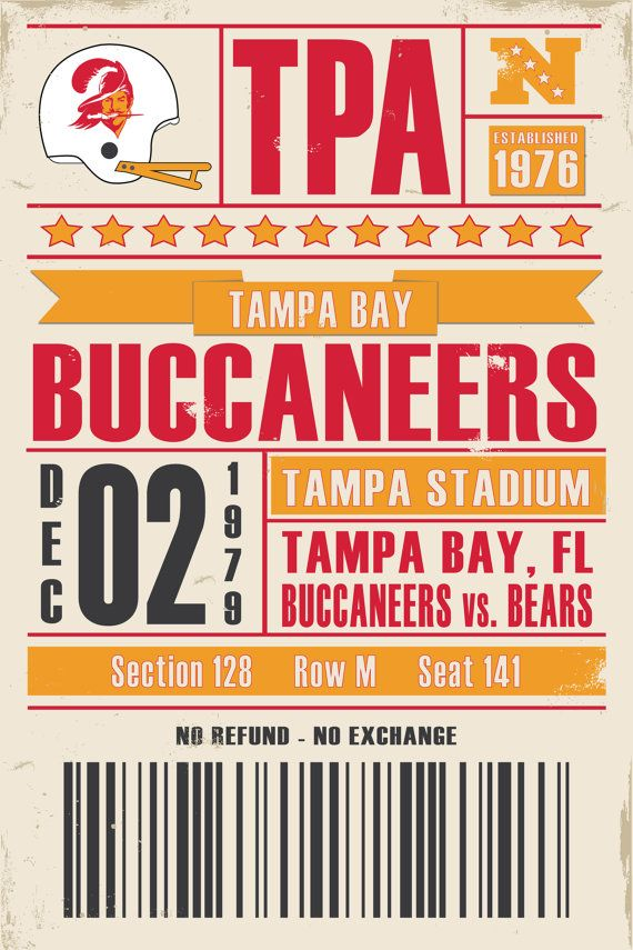 Tampa Bay Buccaneers Retro Ticket Print by StudioMaxe on Etsy