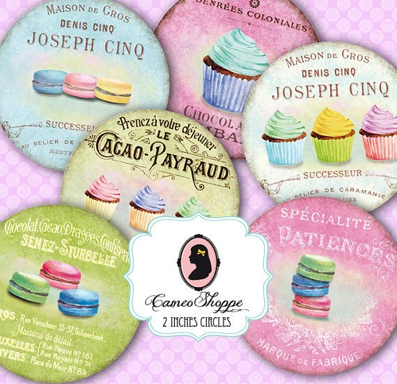 Digital collage sheet circle VINTAGE CUPCAKES MACARONS 2 inches Digital Scrapbooking Tags