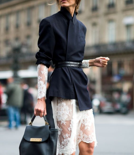 Rien de tel qu'un long blazer porté croisé et ceinturé pour réchauffer une robe midi en dentelle !