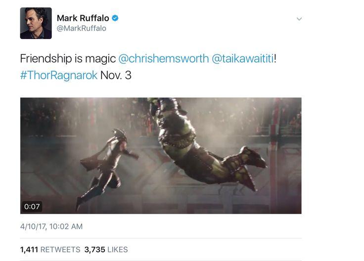"Mark Ruffalo on the Thor Ragnarok Trailer ""Friendship is Magic."