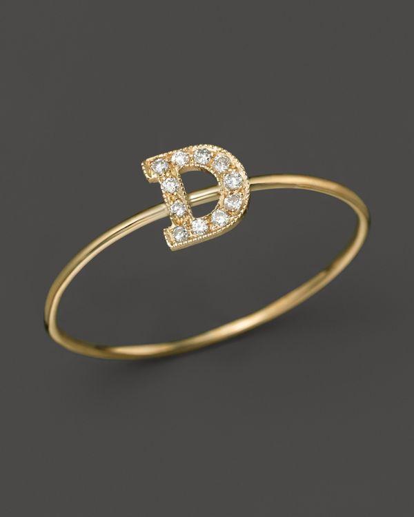 Zoë Chicco Pave Diamond Gold Initial Ring GBYQl