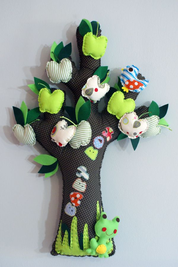 TREE WITH GREEN APPLES, made of fabric