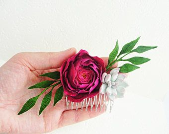 Fuchsia Ranunculus Gray Pink Succulent Flower Wedding Bridal Hair Comb. Collage Hair Comb. Bridal Comb, wedding headpiece