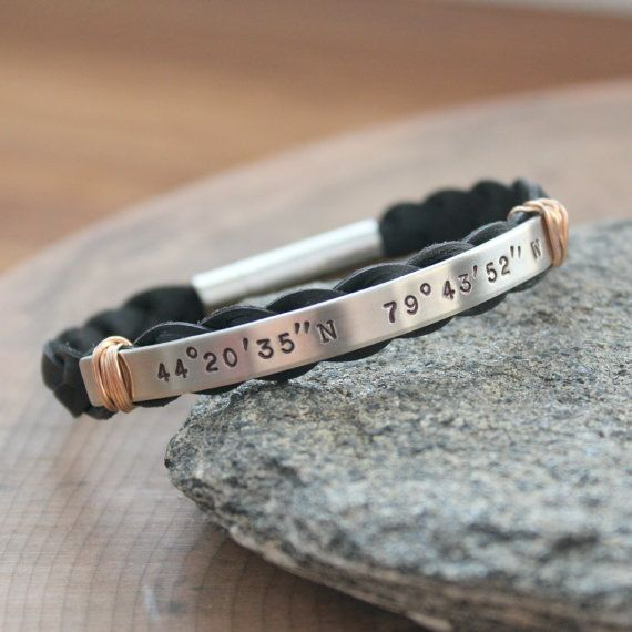 "Men's Coordinates Bracelet Custom by 2sistershandcrafted on Etsy - silver bar is 3"" by 1/4"""