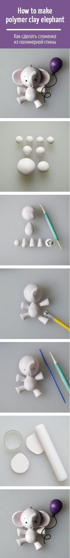 How to make polymer clay elephant /  Как сделать слоненка из полимерной глины
