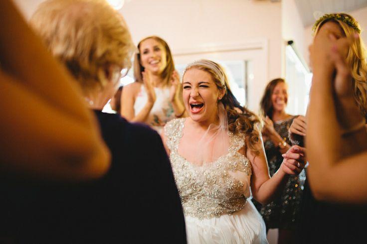 Bride on the dance floor Jewish hora dancing