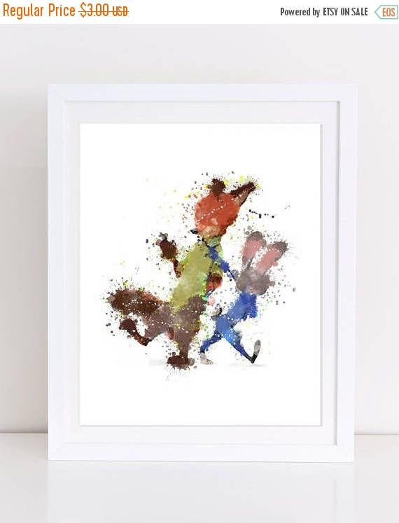 60%OFF Zootropolis Watercolor Poster Judy Nick Poster