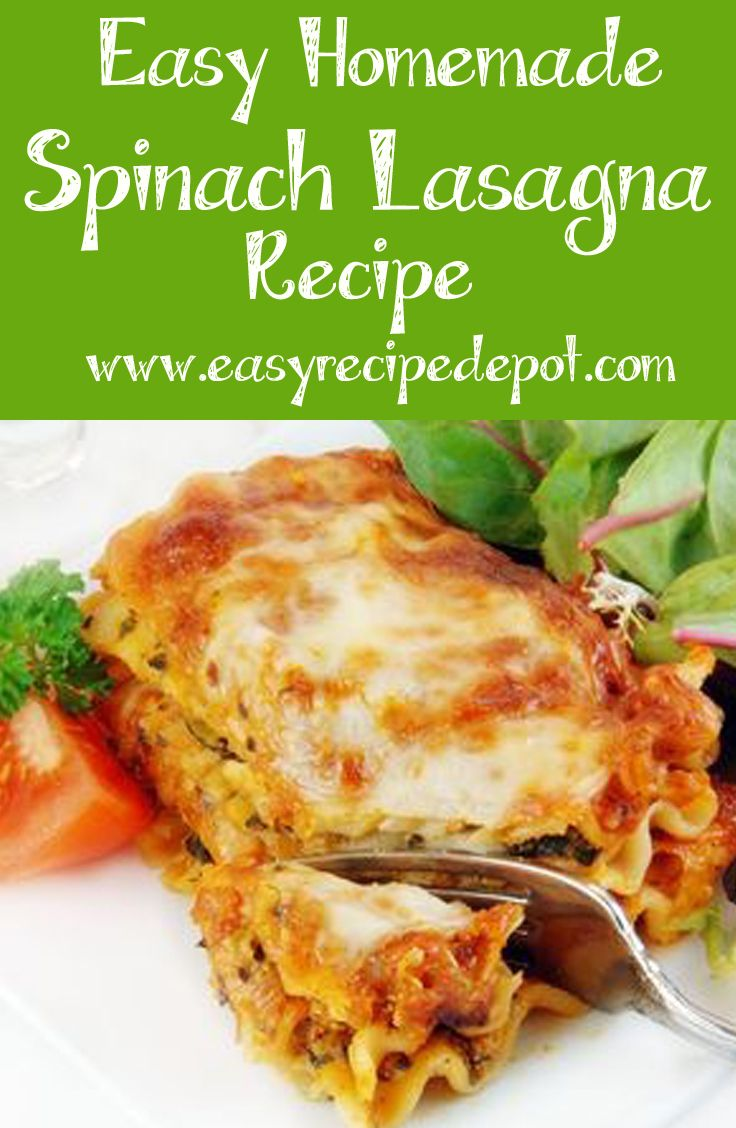 Easy Spinach Lasagna | Recipe | Homemade, Spinach and Girls