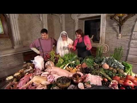 the supersizers go, on the food channel, usa. giles coren and sue perkins go on a comedic romp through culinary history. a mix between two fat ladies and monty python...