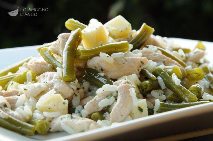 Insalata di riso, tacchino e fagiolini