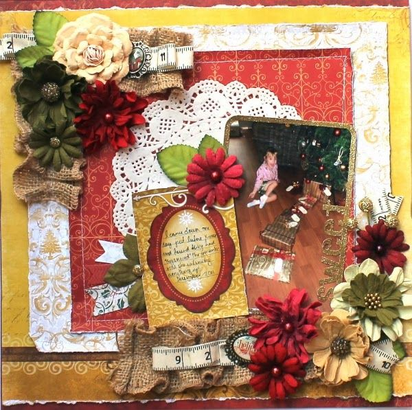 Bernii Miller created this gorgeous Christmas layout using the Silver And Gold collection. Love all the burlap and blossoms. #BoBunny, @Bernadette Miller