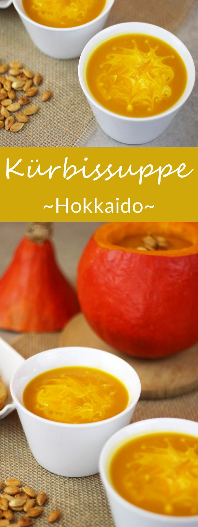 Kürbissuppe aus Hokkaido, Kartoffeln und einem Apfel - Leckeres Herbstgericht. #kürbis #herbstrezept #rezept
