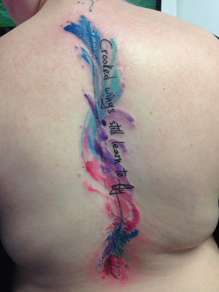 My watercolor tattoo over my scoliosis scar. #scoliosis #spinetattoo scoliosis tattoo