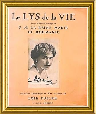 """Basmul """"Le Lys de la Vie"""" (foto sus), în română """"Crinul vieţii"""", scris de Regina Maria, a fost transpus într-un spectacol de balet de presupusa ei amantă, dansatoarea Loie Fuller"""