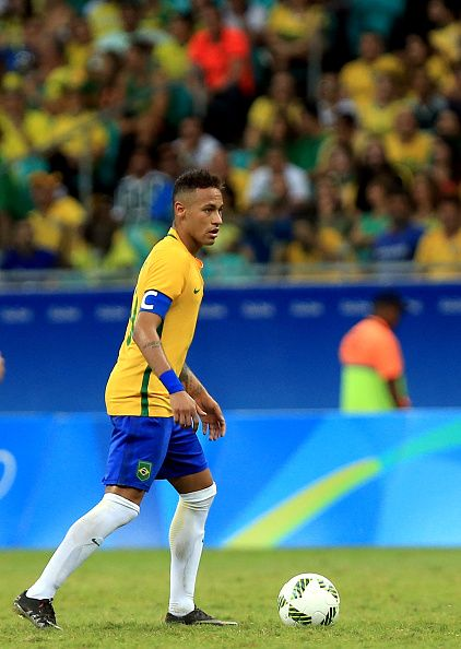 Neymar of Brazil in action during the match Brazil v Denmark on Day 5 of  the Rio 2016 Olympic Games at Arena Fonte Nova on August 10 2016 in  Salvador.