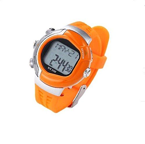 Digital LCD Display Heart Rate Monitor Calorie Counter Fitness Health Sport Pulse Sensor Stop Watch for Men Women Orange * More info could be found at the image url.