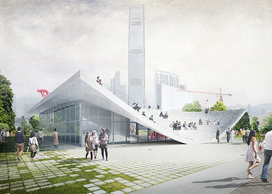 Entry for the WKCDA Arts Pavilion Design Competition, Hong Kong - design by XML - WKCDA Arts Pavilion: West Kowloon Arts Pavilion design competition #pavilionarchitecture